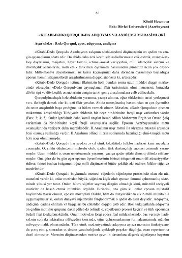 KITABI-DƏDƏ QORQUD - Bakı Dövlət Universiteti
