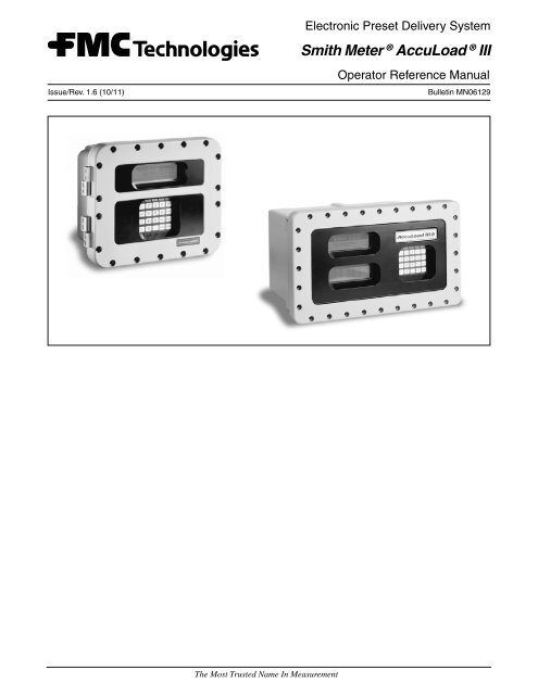 9a6dd7abe03a75 Smith Meter ® AccuLoad ® III - Measurement Solutions - FMC ...