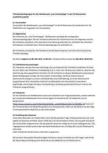 """Teilnahmebedingungen für den Wettbewerb """"Leas ... - studiVZ"""