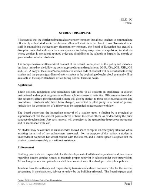FILE: JG Critical Page 1 STUDENT DISCIPLINE It is essential