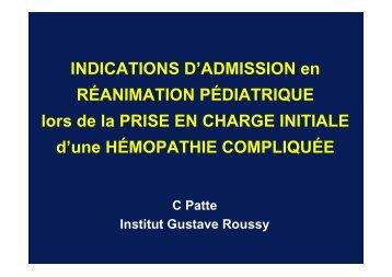 Indications d'admission en réanimation pédiatrique lors de la ... - gfrup