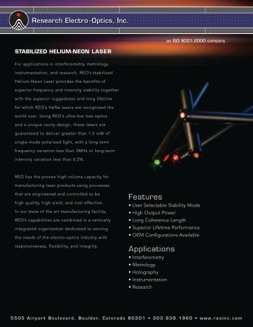 Features Applications - Laser Lines Ltd.