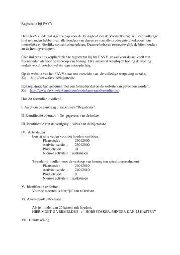 Registratie bij FAVV Het FAVV (Federaal Agentschap voor de ... - Base