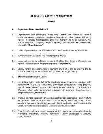 """Regulamin Loterii Promocyjnej """"Mikołaj"""" - Fortuna PS logo"""