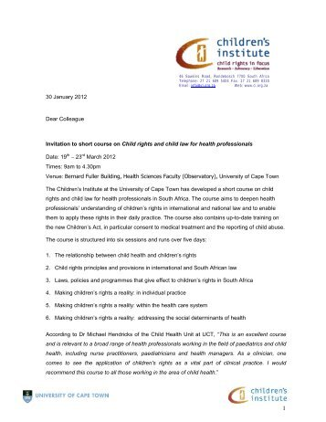 30 January 2012 Dear Colleague Invitation to short course on Child ...