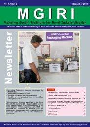 NewsLetter December 2009 - Mahatma Gandhi Institute for Rural ...