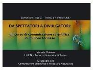Da spettatori a divulgatori: un corso di comunicazione scientifica in ...