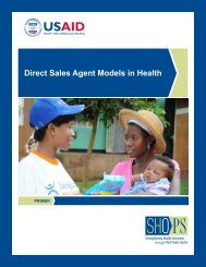 Direct Sales Agent Models in Health - SHOPS project