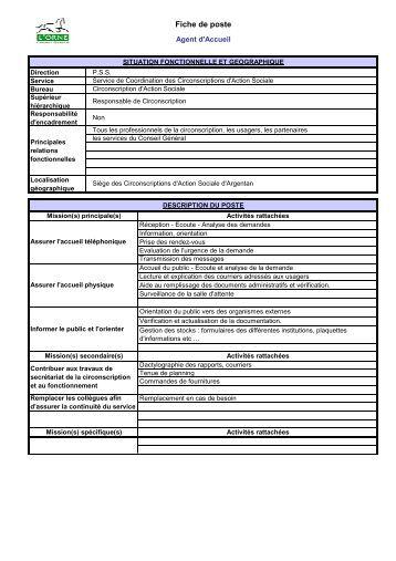 fiche de poste secr 233 tariat accueil du le vigan pdf