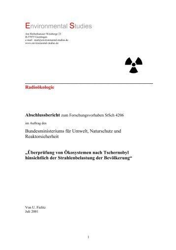 Überprüfung von Ökosystemen nach Tschernobyl hinsichtlich der ...
