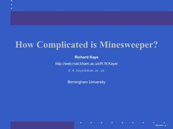 How Complicated is Minesweeper? - University of Birmingham