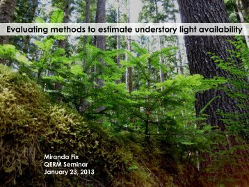 Evaluating methods to estimate understory light availability - CBR Wiki