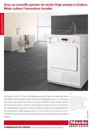 Avec sa nouvelle gamme de sèche-linge pompe à chaleur, Miele ...