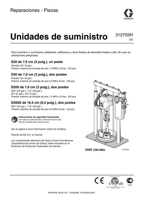 312703H - Supply Units, Repair-Parts, Spanish - Graco Inc