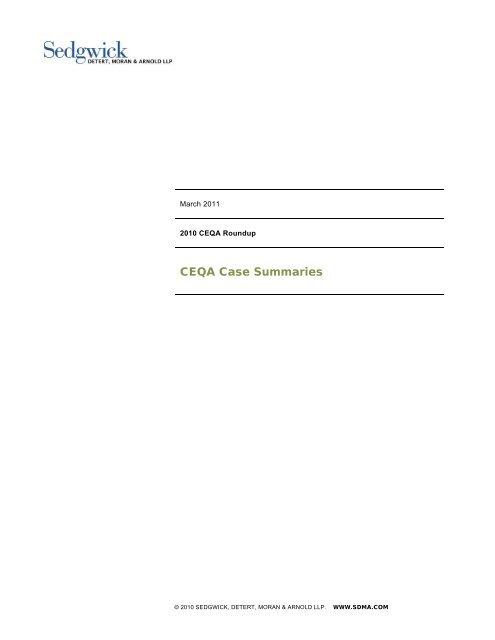 Download Case Summaries in PDF Format - Sedgwick LLP