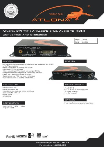 Atlona DVI with Analog/Digital Audio to HDMI Converter and ...