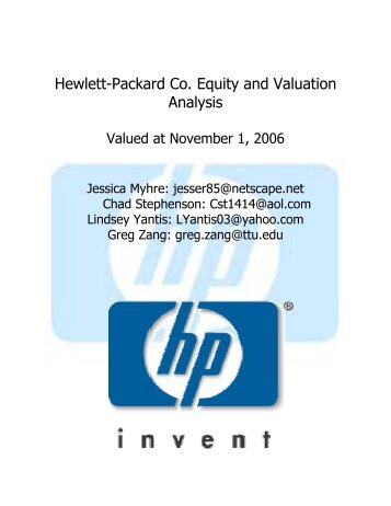 Hewlett-Packard Co. Equity and Valuation Analysis