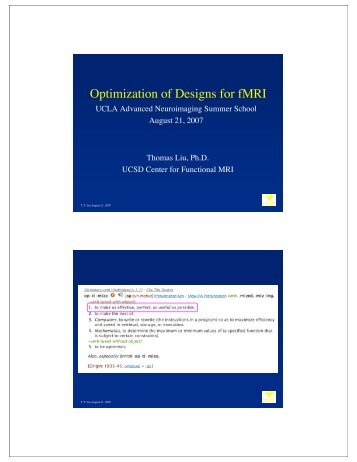 Optimization of Designs for fMRI - Center for Functional MRI