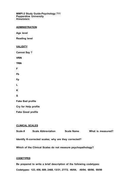 MMPI 2 Study Guide Psychology 711 Pepperdine University