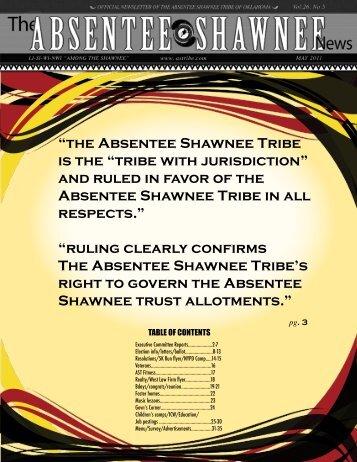 May 2011 - Absentee Shawnee Tribe Of Oklahoma