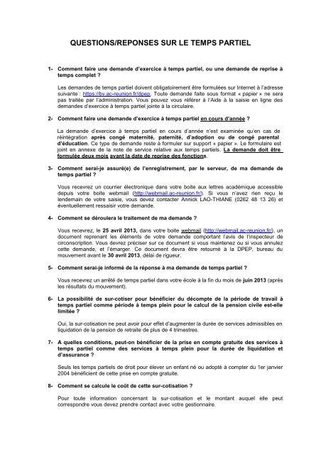 Foire Aux Questions Sur Le Temps Partiel Rs2012
