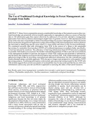 The Use of Traditional Ecological Knowledge in Forest Management ...