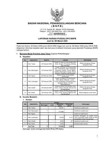 Laporan Harian 6 Maret 2009 - BNPB