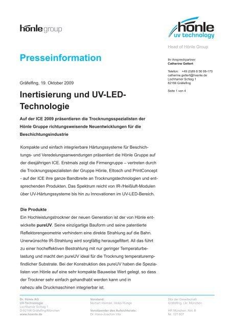 Presseinformation zur ICE 2009 - Dr. Hönle AG