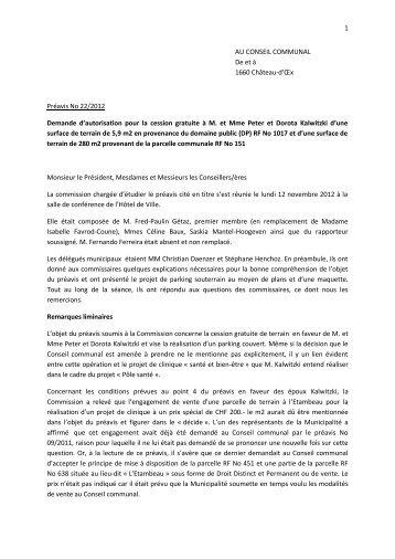 Préavis N° 22-2012 - Commission - Château-d'Oex