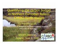 Quantifying the carbon budget in Northern European Russia - NEESPI