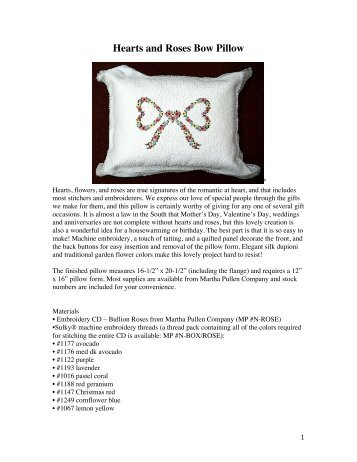 Hearts and Roses Bow Pillow - Martha Pullen