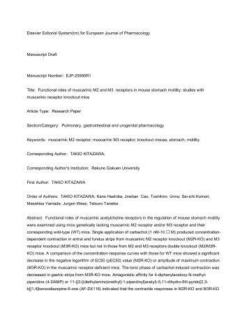 Elsevier Editorial System(tm) for European Journal of Pharmacology ...