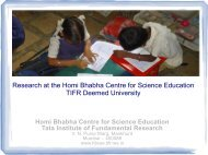Research at the Homi Bhabha Centre for Science Education TIFR ...