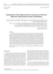 Optimization of the Supercritical CO2 Extraction of Oil from ...