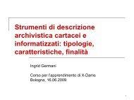Strumenti di descrizione archivistica cartacei e informatizzati - xDams