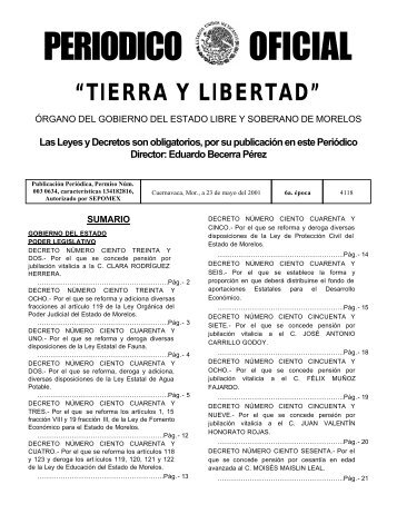 Periódico Oficial No.4118 - Gobierno del Estado de Morelos
