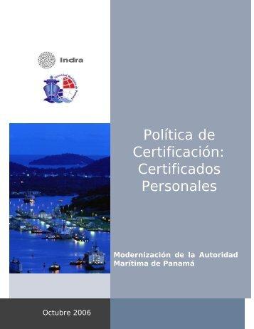 Política de Certificación: Certificados Personales - Autoridad ...