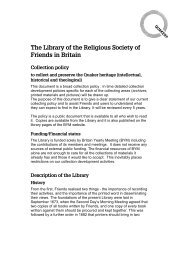 Collection Policy - Quakers