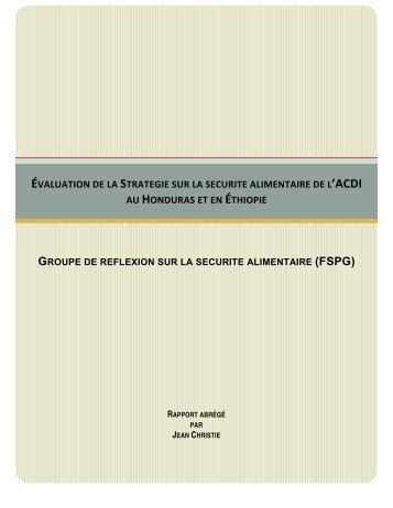 évaluation de la strategie sur la securite alimentaire de l'acdi au ...