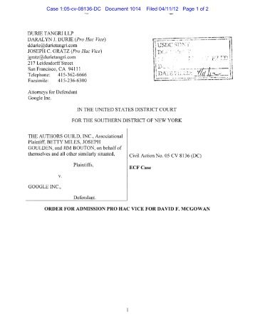 Order Granting Motion for Admission Pro Hac Vice - The Public Index
