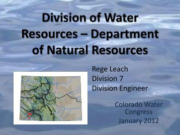 2012 Update - Colorado Division of Water Resources