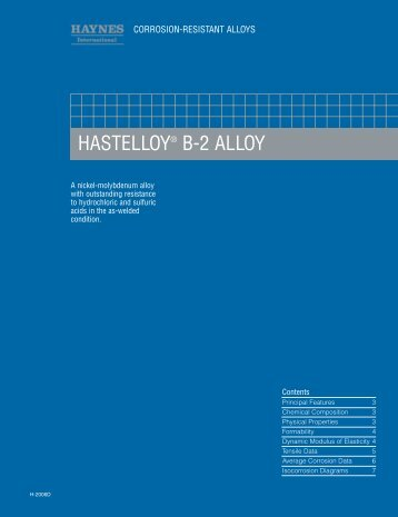 Hastelloy Alloy B-2/H-2006D - Haynes International, Inc.