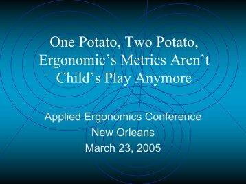 Ergonomic Metrics - Institute of Industrial Engineers