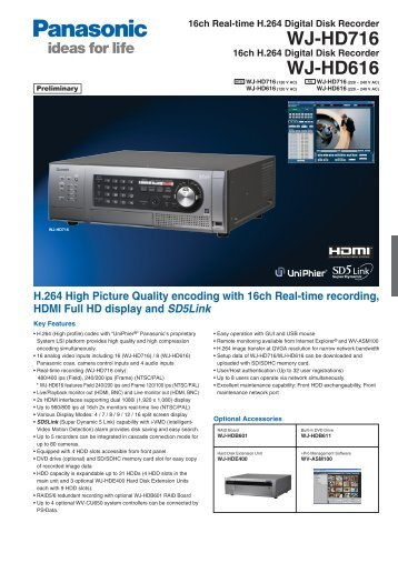Product catalogue for WJ-HD716 Video Recorder - AAC Distribution