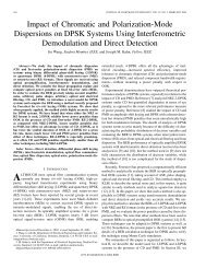 Impact of Chromatic and Polarization-Mode Dispersions on DPSK ...