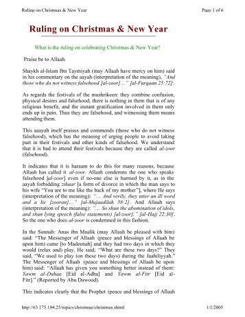 Ruling on Christmas & New Year - World Of Islam Portal