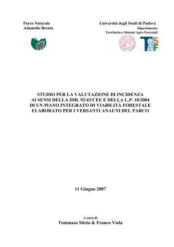 Studio Per La Valutazione Di Incidenza Ai Sensi Della Dir 92 43 Cee