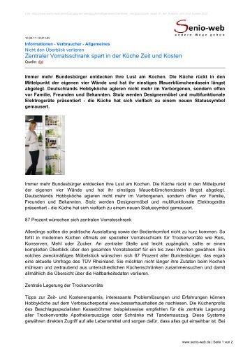 Zentraler Vorratsschrank spart in der Küche Zeit und ... - Senio-Web