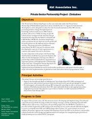 Private Sector Partnership Project - Zimbabwe - Abt Associates