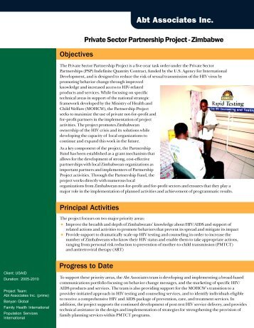 Private Sector Partnership Project - Zimbabwe - Abt Associates